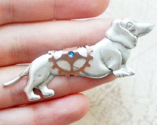 Steampunk brooch 'Dog Dachshund'