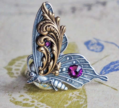 Steampunk ring 'Vintage Butterfly'
