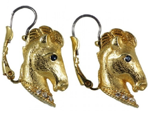 Horse in jewellery. Vintage Trifari 1998 golden earrings