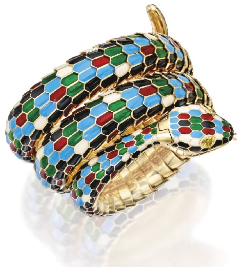 18 Karat Gold, Enamel and Yellow Sapphire 'Serpenti' Wristwatch, Bulgari jewellery