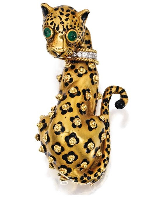 18 Karat Gold, Platinum, Diamond, Emerald and Enamel Leopard Brooch, David Webb