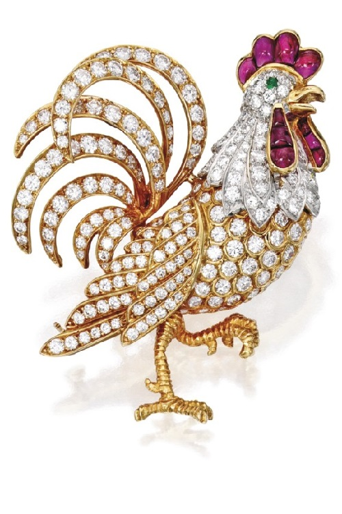 18 Karat Gold, Platinum, Diamond and Ruby Rooster Brooch, Oscar Heyman & Brothers