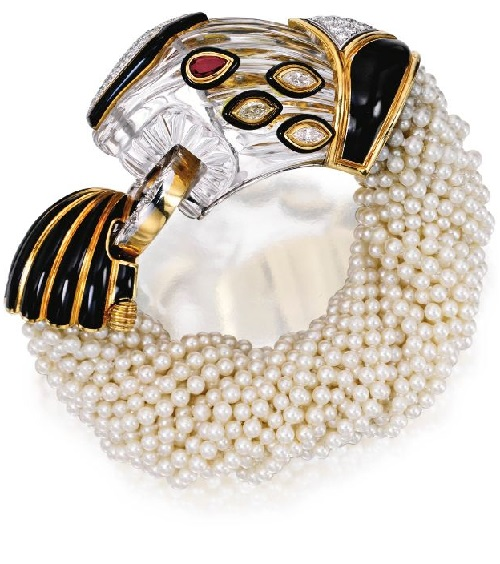 18 Karat Gold, Platinum, Rock Crystal, Diamond, Ruby, Enamel and Cultured Pearl Bracelet, David Webb, Circa 1973