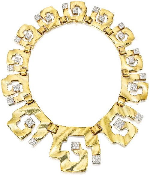 18 Karat Gold, Platinum and Diamond Necklace, David Webb