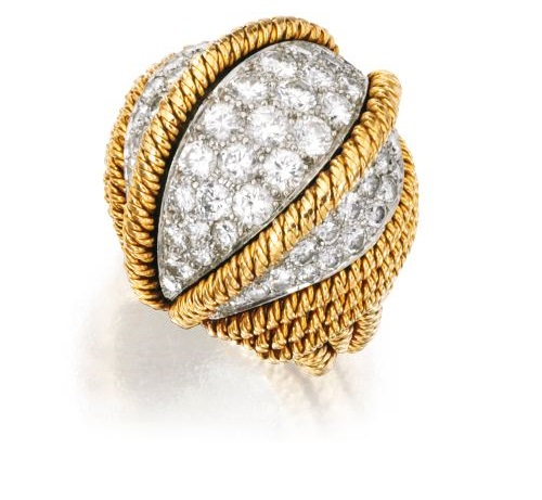 18 Karat Gold, Platinum and Diamond Ring, David Webb