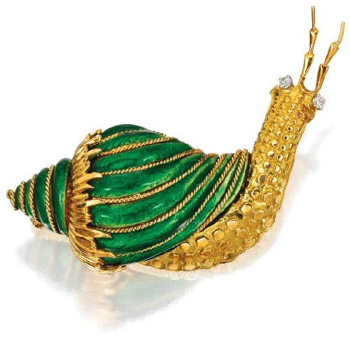 18 Karat Gold snail, Diamond and Enamel Brooch, David Webb