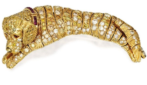 18 karat gold, Blackened gold, colored diamond, diamond, citrine, ruby Dog Brooch, Rene Boivin, France
