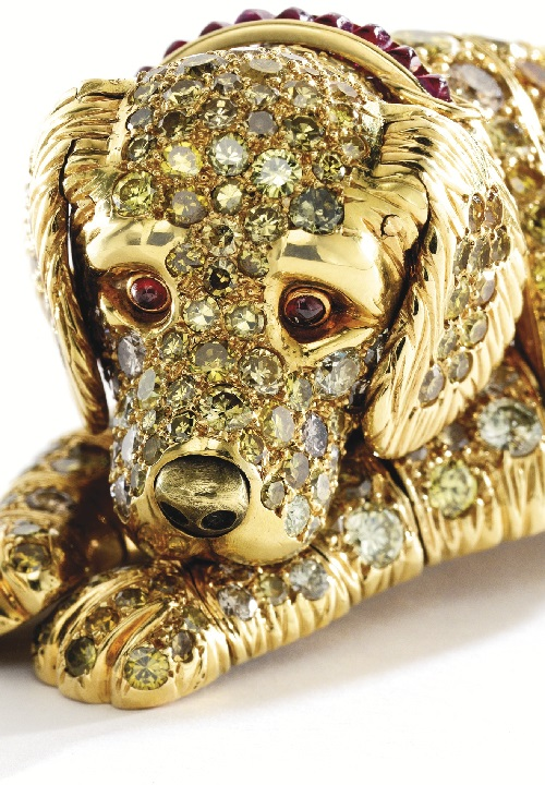 18 karat gold, Blackened gold, colored diamond, diamond, citrine, ruby Dog Brooch, Rene Boivin