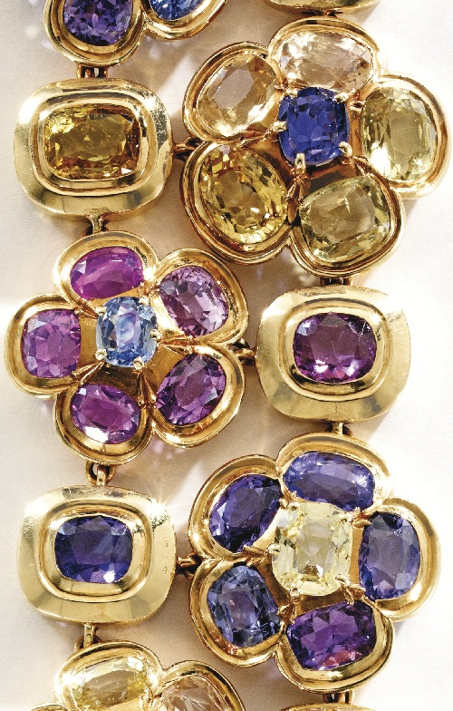18 karat gold and multi-colored sapphire bracelet, Rene Boivin, France
