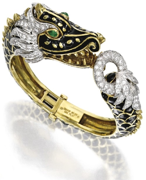 18K Gold, Diamond, Emerald and Enamel Bangle-Bracelet, David Webb