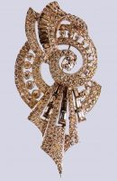 1930s Bow brooch, covered with rhodium, rock crystal. $ 150