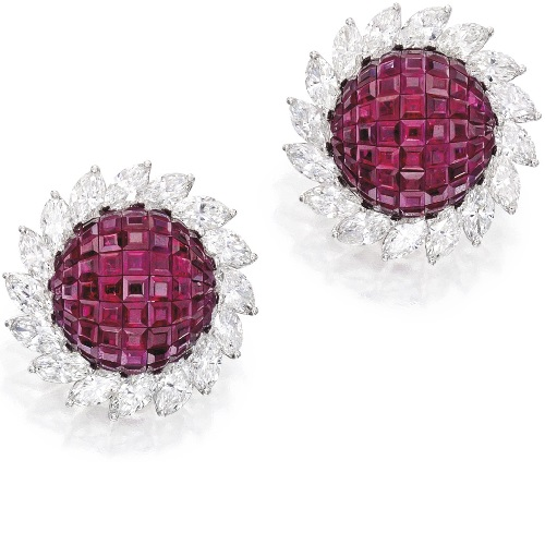 Pair of Platinum, Invisibly-set ruby and diamond ear clips, Aletto Brothers