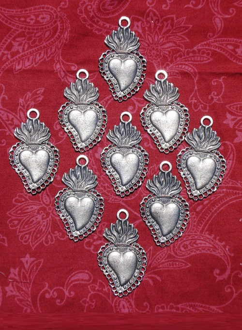 Antique Silver Sacred Hearts Mexican Milagros Charms