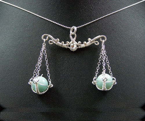 Astrological sign Libra. Wire-work pendant by Huan Pham