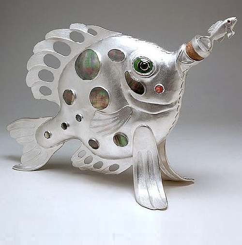 Bottle 'Fish-butterfly'. gold, silver, stones, mother of pearl, enamel