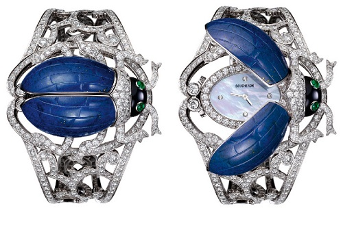 Bracelet Watch 'Khepera' in the form of a scarab beetle. Lapis lazuli, onyx, emeralds, diamonds. Boucheron. 2011