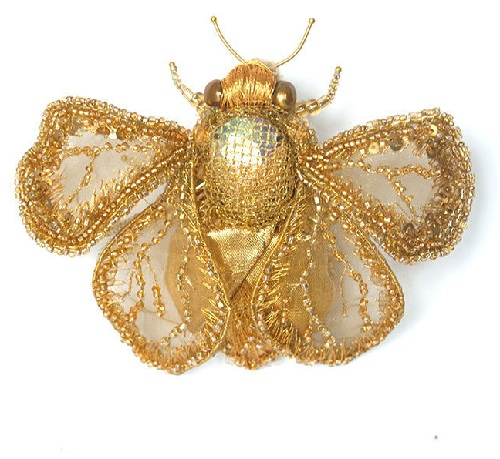 Eva Anders insect brooches. Brooch Bee Grushenka, the finest embroidery of shimmering gold threads, beads and sparkles
