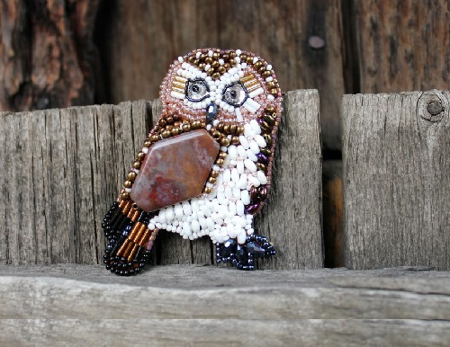 Brooch Owl. Multilayer beadwork. Natural jasper, Czech and Japanese beads, glass, cutting, cut-glass beads. Eyes - Swarovski crystals