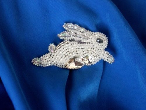 Brooch Winter bunny, Czech glass beads, rhinestone crystals