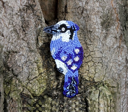 Brooch-pendant Spring bird. Czech beads, Swarovski crystals, faceted crystal beads