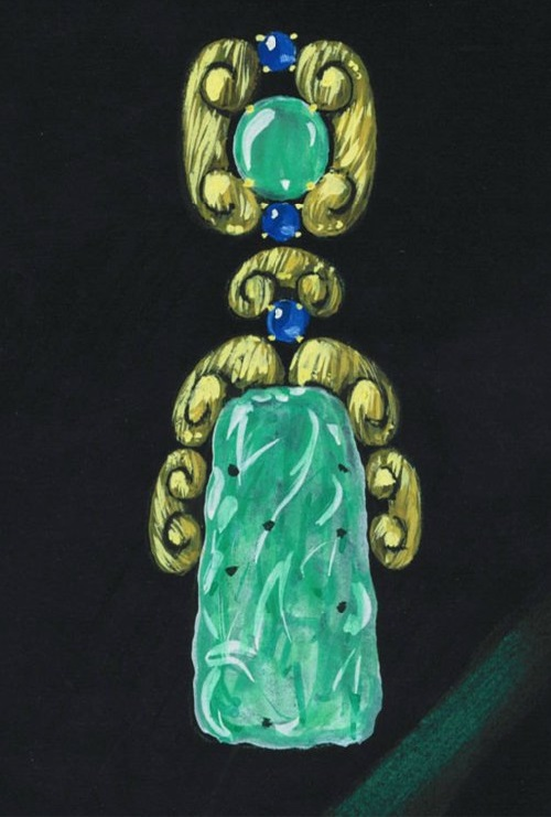 David Webb sketch of a pendant