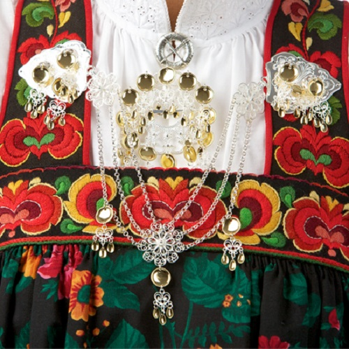 Detail of traditional national costume Bunad