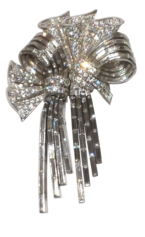 Diamond and platinum double clip Brooch