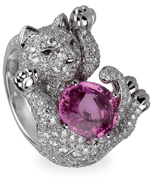 Diamond kitten with a ruby ball ring
