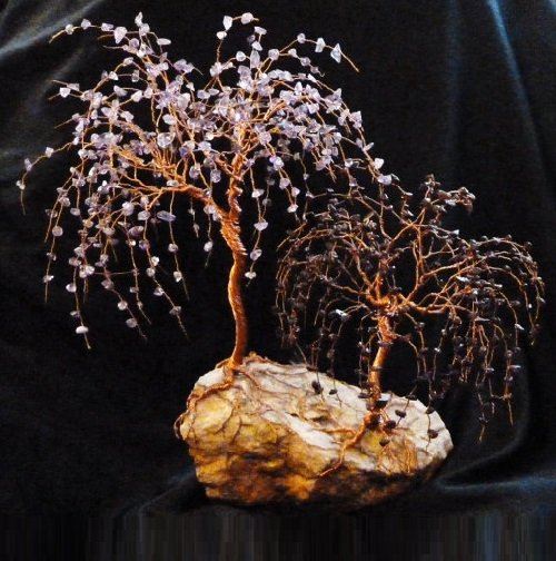 Double Gemstone Tree Sculpture. Amethyst and garnet gemstones. Tree of copper wire. Jeweler Rose Gardina