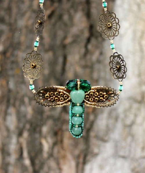 Dragonfly jade necklace with filigree and metal elements and antique bronze color