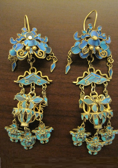 Earrings, encrusted with blue kingfisher feathers
