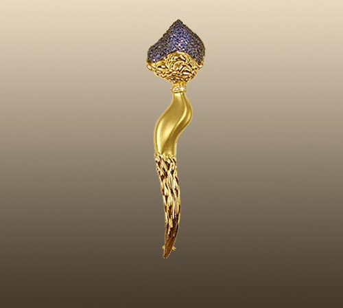 Exclusive golden brooch from the series The Three Ages of Woman. Australian opal, sapphires, diamonds, Black rhodium