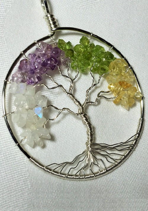 Four Season Tree of Life in Sterling Silver. Moonstone, Amethyst, Peridot, and Citrine. Jeweler Mylena