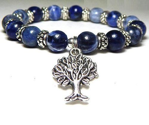 Gemstone bracelet with a silver Tree of Life Charm. Jeweler Kristen, Michigan