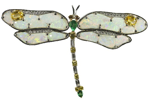 Gold, Platinum Opal Yellow Sapphire Emerald Fancy Diamond Dragonfly Pin