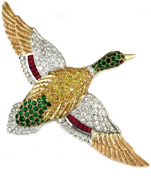 Gold platinum emerald ruby & diamond duck brooch