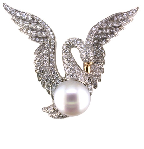 Gold platinum pearl diamond swan brooch
