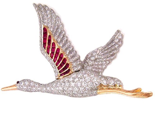 Gold platinum ruby & diamond egret brooch