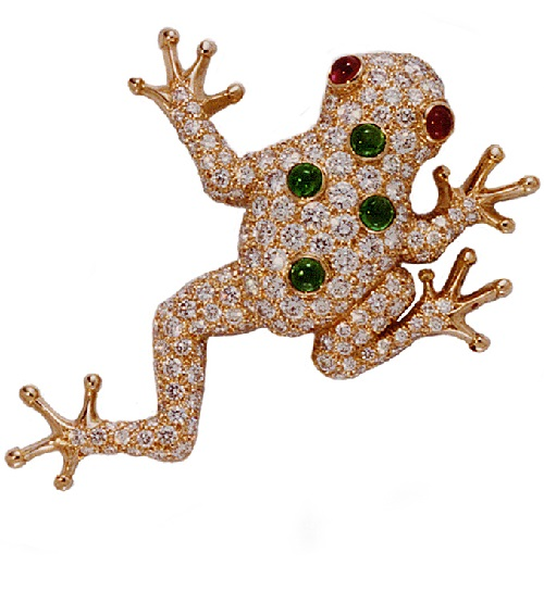 Gold ruby emerald diamond frog brooch