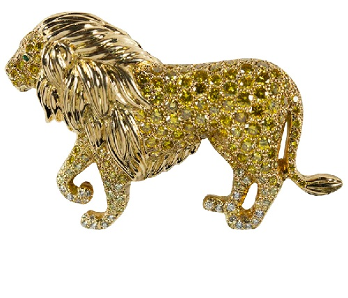 Gold yellow and white diamond emerald lion brooch