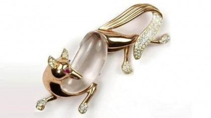 Fox Jelly Belly Coro Craft brooch, 1930s