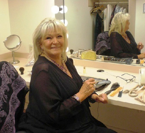 Jennifer in the dressing room before the show