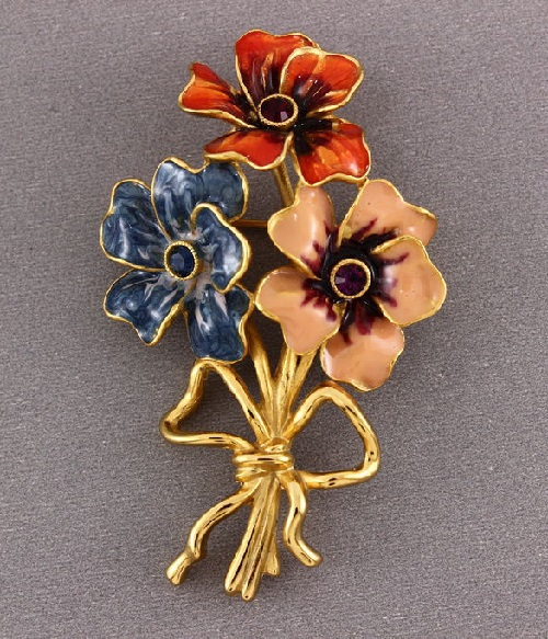 Joan Rivers vintage brooch Enamel flowers