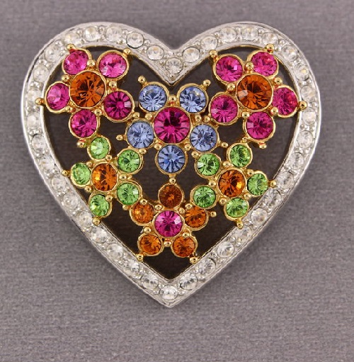 Joan Rivers vintage brooch Heart