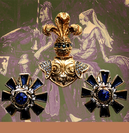 Luxury Vintage Jewelry Set - clips and brooch style of 1960s. Costume jewellery alloy, hot enamel, rhinestones