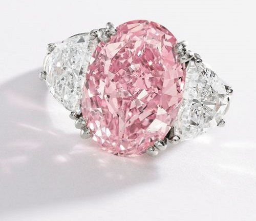 Magnificent Platinum, Fancy Intense Pink Diamond and Diamond Ring, Oscar Heyman & Brothers