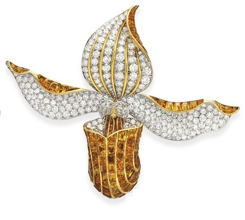 Orchid. Brooch. Gold, platinum, citrine, white and yellow diamonds