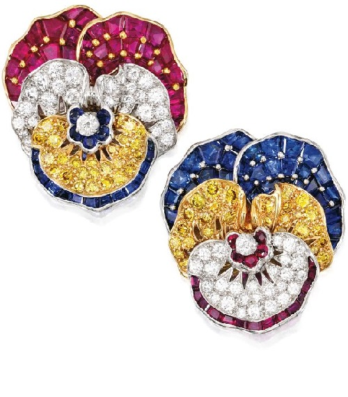 Pair of Platinum, Diamond and Colored Stone 'Pansy'. Oscar Heyman & Brothers jewellery