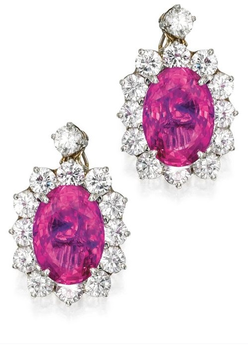 Pair of Platinum, Pink Sapphire and Diamond Earclips, Oscar Heyman & Brothers