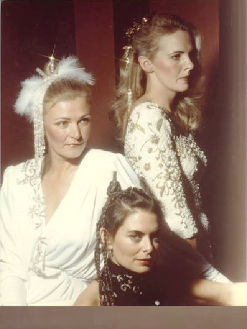 Pictured in white (left to right) Jennifer, Helen, and below Nancy Addison (partner and a friend, a professional model). Nancy worked for the first few years